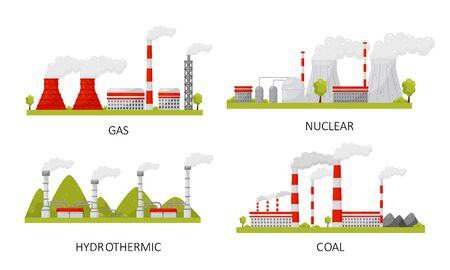 Modern Power Plants Collection, Gas, Nuclear, Hydrothermal, Coal Industrial Factory Buildings Vector Illustration Illustration