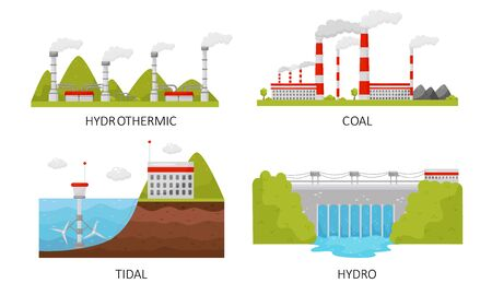 Modern Power Plants Collection, Hydrothermal, Coal, Tidal, Hydro Industrial Factory Buildings Vector Illustration