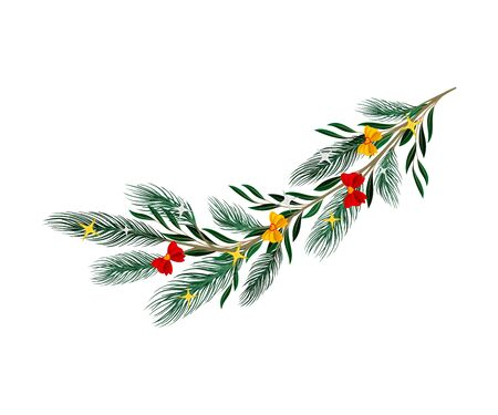 Christmas Tree Branch with Colorful Decorative Elements Vector Illustration. Traditional Winter Twig Decorated with Bows and Stars