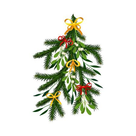 Christmas Tree Branch with Colorful Decorative Elements Vector Illustration. Traditional Winter Twig Decorated with Bows and Berries Ilustracja