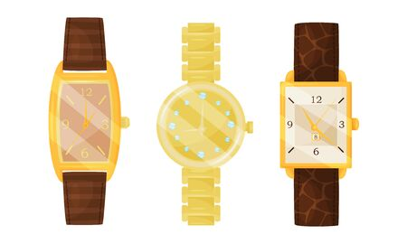 Wrist Watches Collection, Golden Classic Watches Design Vector Illustration on White Background.