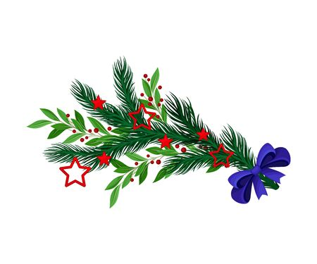 Christmas Tree Branch with Colorful Decorative Elements Vector Illustration. Traditional Winter Twig Decorated with Bow and Stars Ilustracja