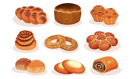 Bakery Pastry Products Collection, Bread, Bagel, Roll, Bun, Muffin, Cheesecake Vector Illustration on White Background.