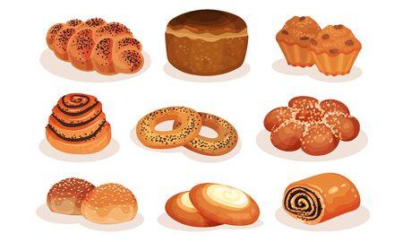 Collection de produits de boulangerie pâtisserie, pain, bagel, petit pain, petit pain, muffin, cheesecake Vector Illustration sur fond blanc. Vecteurs