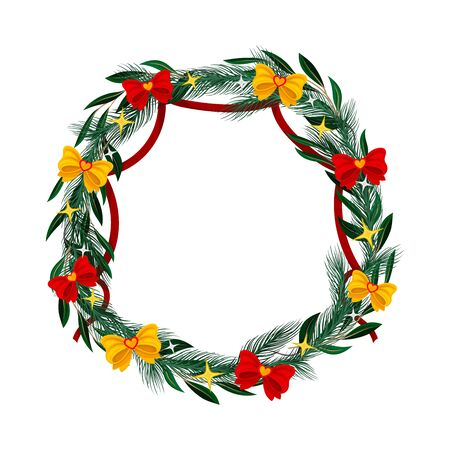 Merry Christmas Wreath Isolated On White Background Vector Illustration. Traditional Holiday Symbol for Decorating Entrance Door