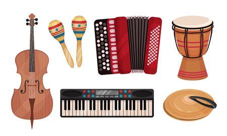 Conjunto de vectores de instrumentos musicales populares. Colección clásica eslava. Concepto de melodía étnica Ilustración de vector