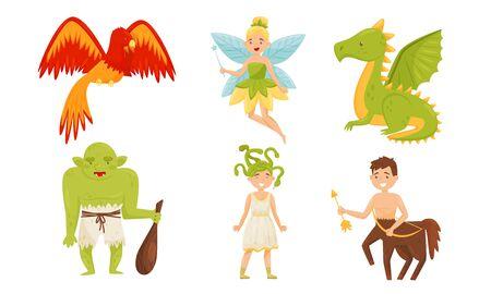 Criaturas mágicas de hadas del conjunto de vectores de libros para niños Ilustración de vector