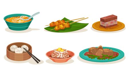 Malaysian Cuisine Dishes and Meals Vector Set. Bundle of Delicious Spicy Asian Restaurant Dishes Served on Plates