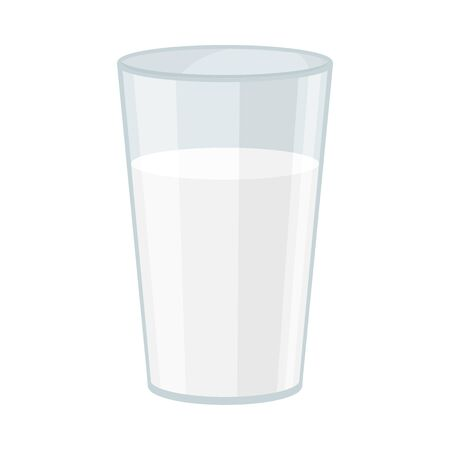 Almond Full Glass of Milk Vector Illustration. Tasty and Nutritious Drink Concept