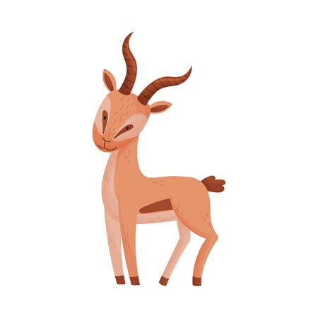 African Gazelle in Standing Pose Stylized Drawing Vector Illustration. Standing Animal Side View