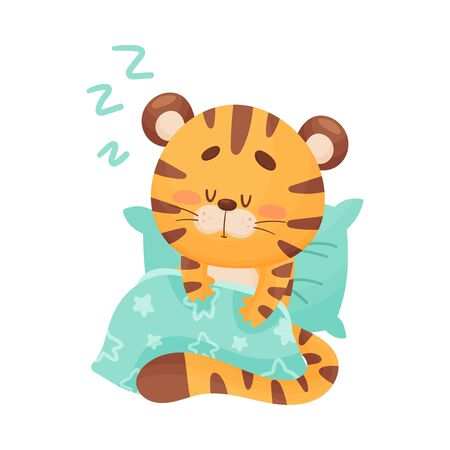 Cute Tiger Cartoon Character Sleeping on Soft Pillow and Covered with Blanket Vector Illustration. Mammal Seeing Sweet Dreams