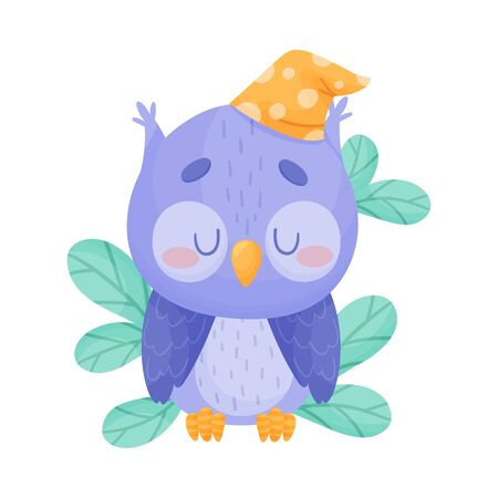 Cute Owl Cartoon Character Sleeping in Sitting Pose on Tree Branch Vector Illustration