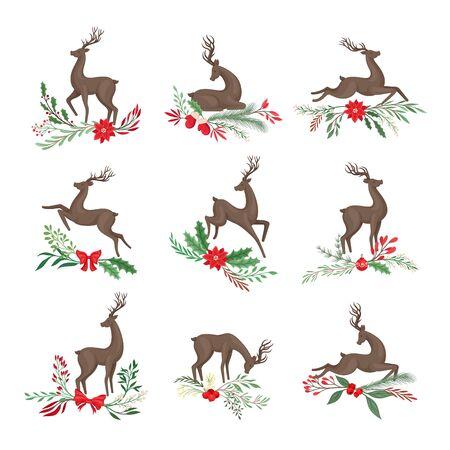 Hirsch in verschiedenen Posen mit Feiertagszweigen und -ästen