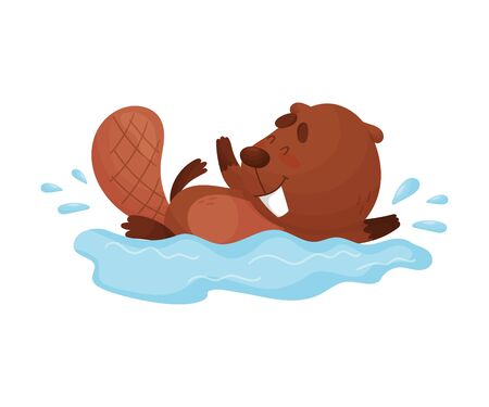 Busy Beaver Splashing in the Water Vector Illustration. Fluffy Animal Having Fun Illustration