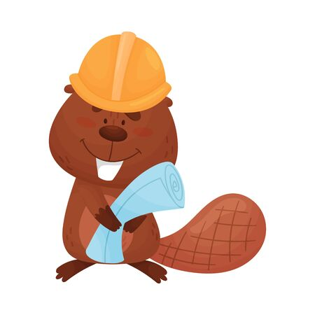 Busy Beaver Holding Construction Plan and Wearing Helmet Vector Illustration. Fluffy Animal Building Dam