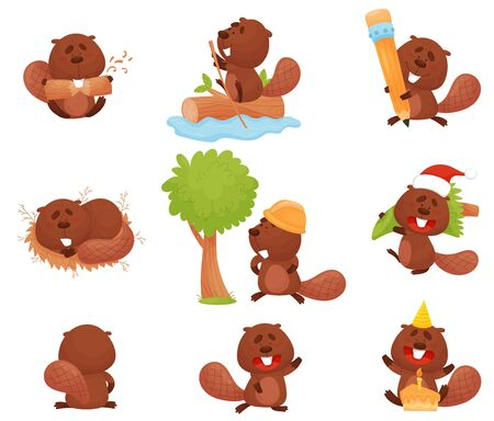 Cute Funny Beaver Character in Different Actions Vector Set. Animal Blowing Out the Candle and Carrying Tree