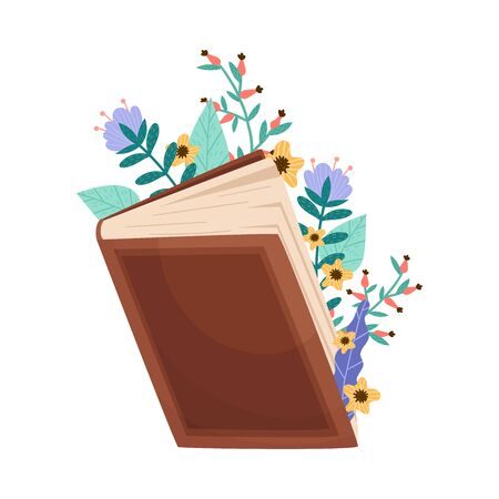Opened Book in Hard Cover With Floral Compositions Peeped Out From it Vector Illustration