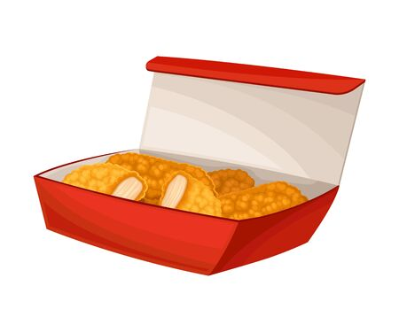 Fried Fast Food Chicken Parts Packed in Takeaway Carton Box Vector Illustration. Traditional Spicy Junk Food