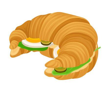 Ruddy Croissant francés con rellenos aislado sobre fondo blanco. Colección Delicious Snack