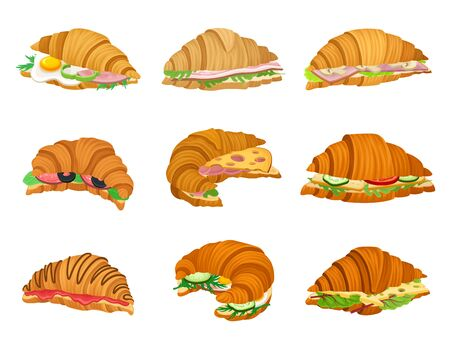 Freshly Baked Realistic Croissants with Different Stuffings Vector Set. Crunchy Pastry with Meat and Sweet Ingredients