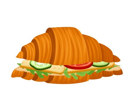 Freshly Baked Realistic Croissant with Stuffing Vector Illustration  イラスト・ベクター素材