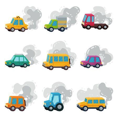 Cartoon Cars Throwing Out Smoke Vector Set