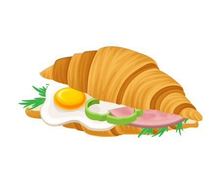 Freshly Baked Realistic Croissant with Stuffing Vector Illustration. Crunchy Pastry with Scrambled Egg and Greenery