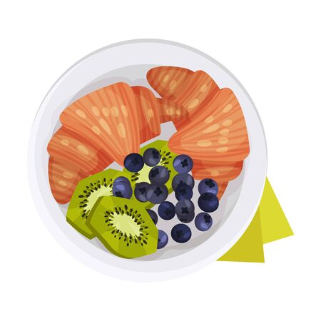 Crunchy Croissants with Berries and Kiwi Fruit Served on Plate Vector Illustration. Breakfast Menu Item Concept