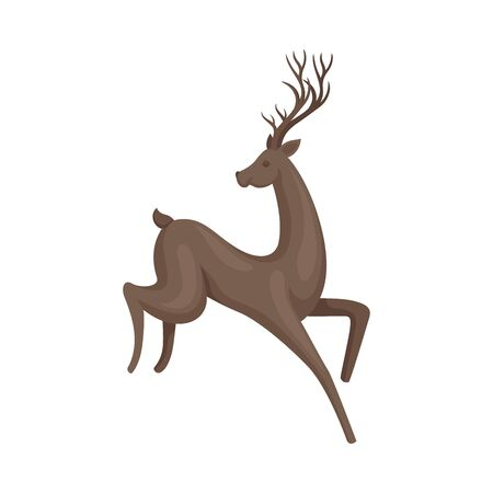 Forest Graceful Deer with Antlers in Jumping Pose Vector Illustration. Wildlife of Forest Mammals Concept. Herbivore Animal Graphic Image