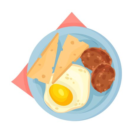 Scrambled Egg Served on Plate with Patty Cakes and Slices of Cheese Vector Illustration. Appetizing Snack Concept Vectores