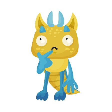 Horned Monster Standing with Thoughtful Expression on His Muzzle Vector Illustration Vecteurs