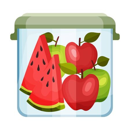 Plastic or Glass Closed Container with Fruits Inside Vector Illustration 일러스트