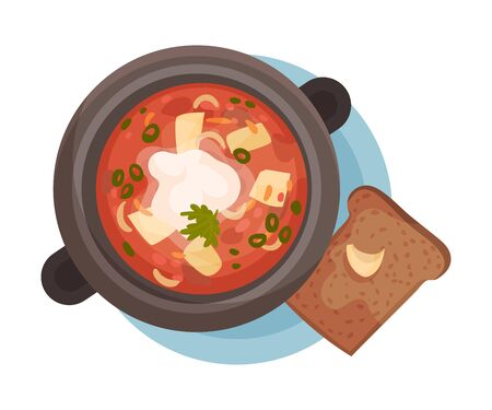 Red Soup Poured and Served in Bowl Top View Vector Illustration