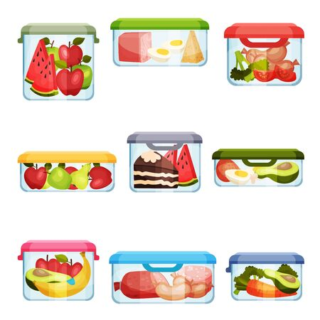 Plastic and Glass Containers with Different Food Stored Inside Vector Set Illustration