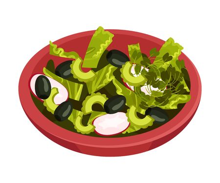 Bowl of Salad with Greenery Vector Illustration