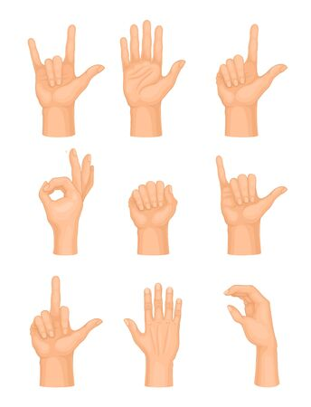Hands Making Different Gestures and Signs Isolated on White Background Vector Set. Interactive Human Communication Concept