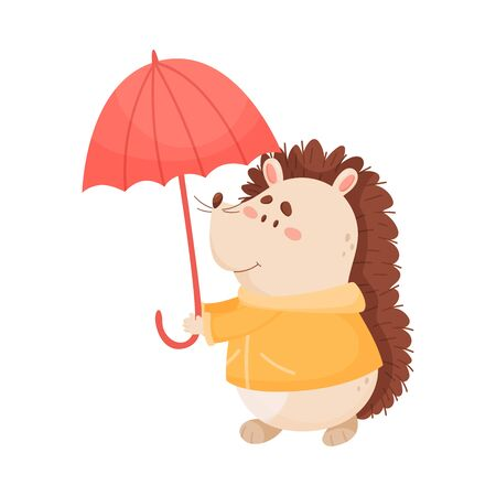 Smiling Hedgehog Character Holding Umbrella and Wearing Coat in Rainy Day Vector Illustration Illustration