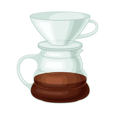 Glass Kettle for Making Tea or Coffee Vector Illustrated Element. Useful Household Item  イラスト・ベクター素材