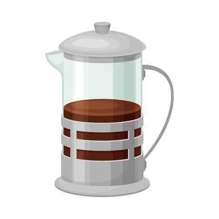 French Press for Making Tea or Coffee Vector Illustrated Element. Useful Household Item