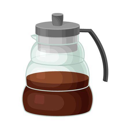 Glass Kettle for Making Tea Vector Illustrated Element. Useful Household Item