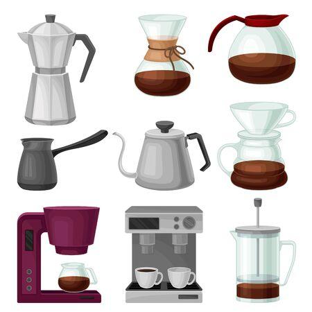 Teekannen und Wasserkocher isoliert auf weißem Hintergrund-Vektor-Set