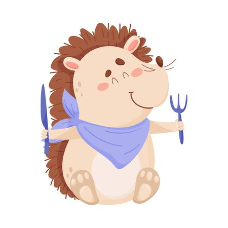 Cute Hedgehog Character Holding Knife and Fork Ready to Have Meal Vector Illustration. Childish Cartoon Spiked Animal