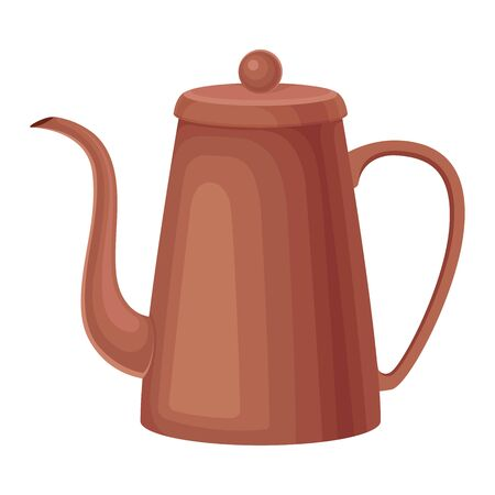 Ceramic Kettle for Making Tea Vector Illustrated Element. Useful Household Item. Kitchen Appliance for Brewing Up Tea  イラスト・ベクター素材