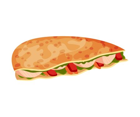 Traditional Quesadilla Snack Vector Illustration. Various Ingredients Wrapped in Multigrain Crumpet Ilustracja