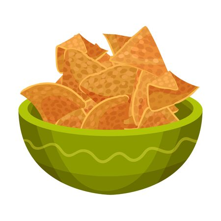 Nachos Served in Deep Bowl Isolated on White Background Vector Illustration. Traditional Mexican Food Concept