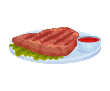 Traditional Mexican Food Served on Plate Vector Illustration