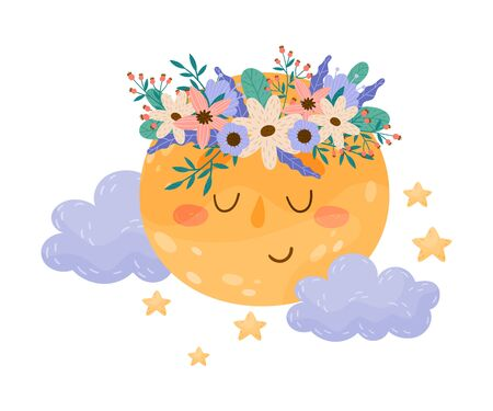 Cute Smiling Full Moon with Flowers Attached to its Body Vector Illustration