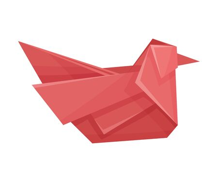 Origami Paper Sitting Bird Vector Illustration. Made of Paper Polygonal Shaped Figure Ilustracja