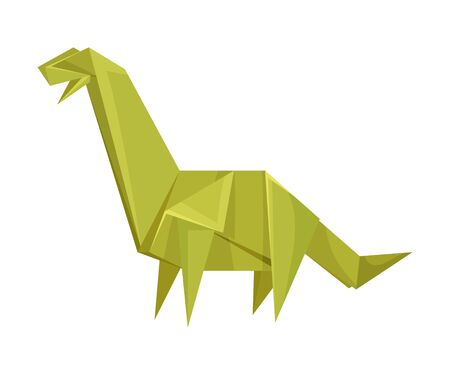 Long-necked Dinosaur Origami Figure Vector Illustration. Art of Paper Folding Concept. Creative Craft for Adults and Kids
