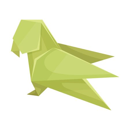 Origami Paper Parrot Vector Illustration. Made of Paper Polygonal Shaped Figure